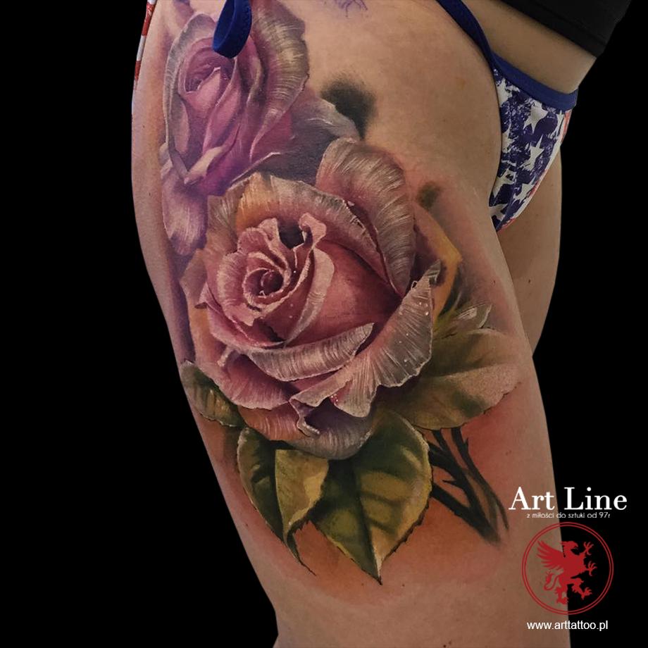 róża tatuaż artline Poznan